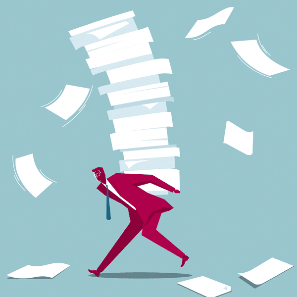 Businessman carrying document - illustration